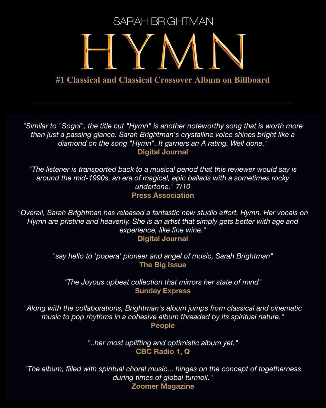 HYMN is the #1 Classical and Classical Crossover Album on Billboard